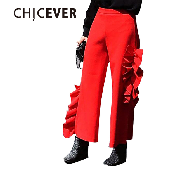 [CHICEVER] 2017 Spring Loose Fold Elastic Waist P Dimensional Ruffles Casual Wide Leg Pants New Fashion Trousers