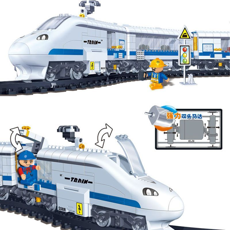 Model building kits compatible with lego city RC Train rails Remote Control 3D blocks Educational model building toys hobbies