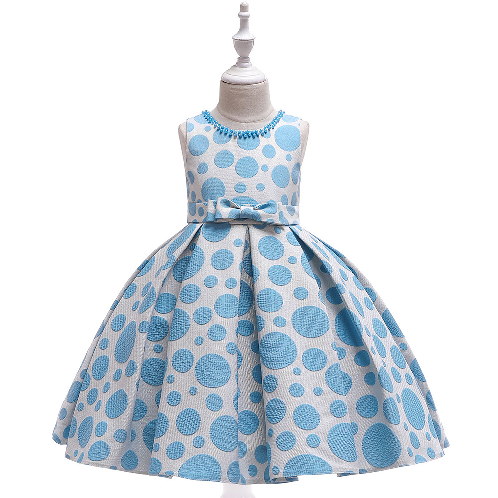 Latest A-Line Sky Blue Print Formal Party   Girls   Gowns with Pearls Short Satin Pageant   Dress     Flower     Girl     dresses   for Wedding