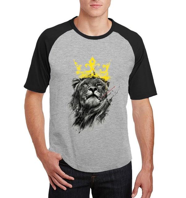 4b69a381 2017 summer male raglan short sleeve tee shirt homme king of lion funny  printed t shirts for men cotton o-neck t-shirt S-XXL
