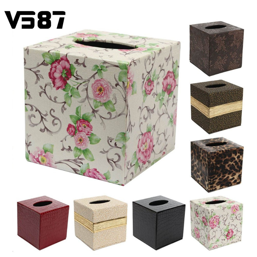 Pu leather tissue box case home table bathroom decor for 1 case of table paper
