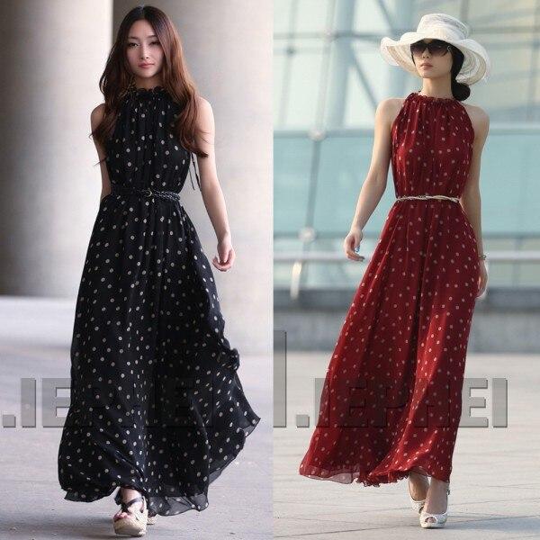 920bf250dde91f Frauen Boho Lang Maxi Chiffon-Kleid Ärmel Polka Dot Kleid - a.mytecno.me