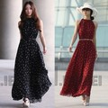 Mujeres Boho Maxi largo vestido de gasa de lunares vestido sin mangas