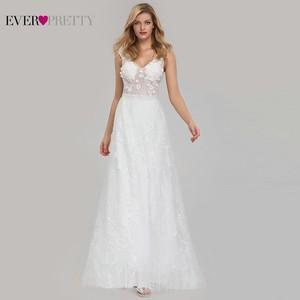Image 2 - אלגנטית תחרה חתונה שמלות אי פעם די EZ07832CR אונליין V צוואר הכלה Boho שמלות כלה Vestido דה Noiva 2020 טול Mariage