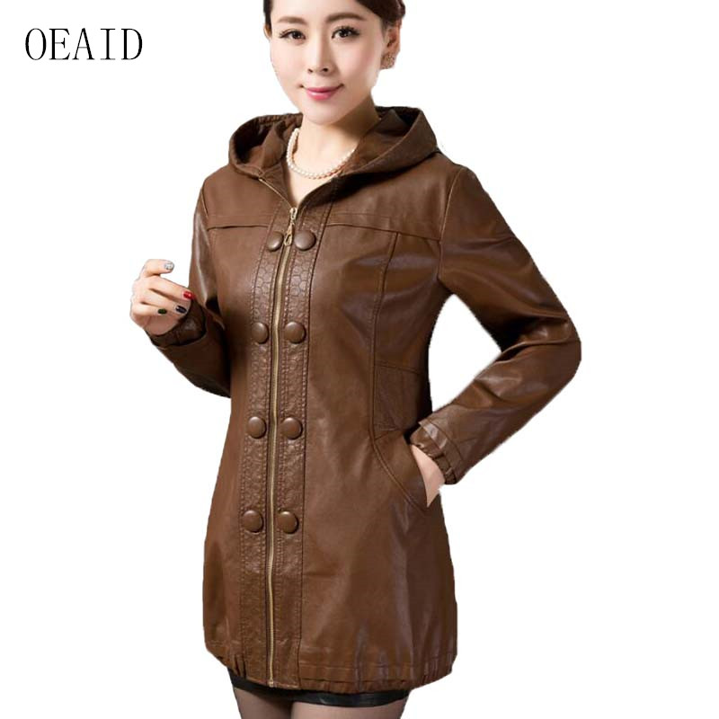 OEAID Plus Size Leather Coat Women 2019 New Spring And Autumn Leather Clothing Women Outerwear Long
