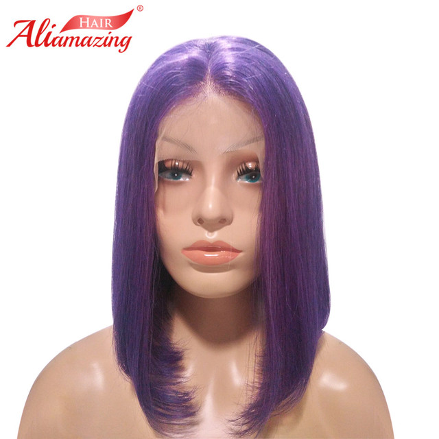 Ali Amazing Hair Short Human Hair Bob Wigs For Women Middle Part Pre  Plucked Purple Lace 28ebdd9bf