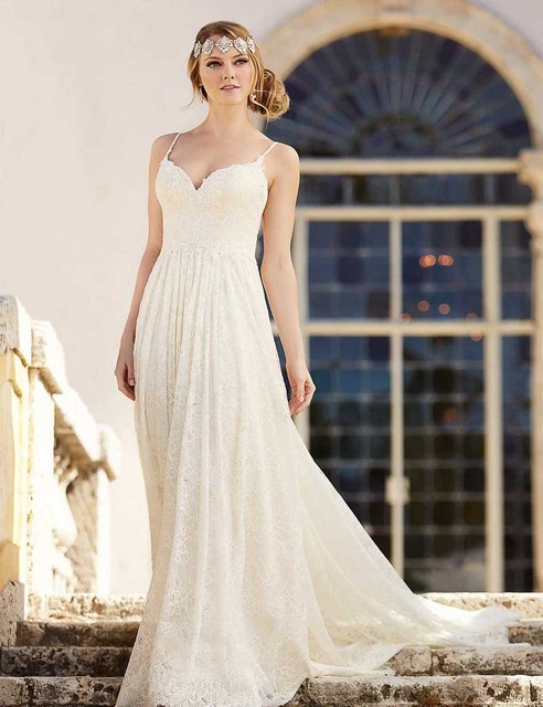 Vestidos De Novia Bohemian Lace Wedding Dress Beach Simple Boho ...
