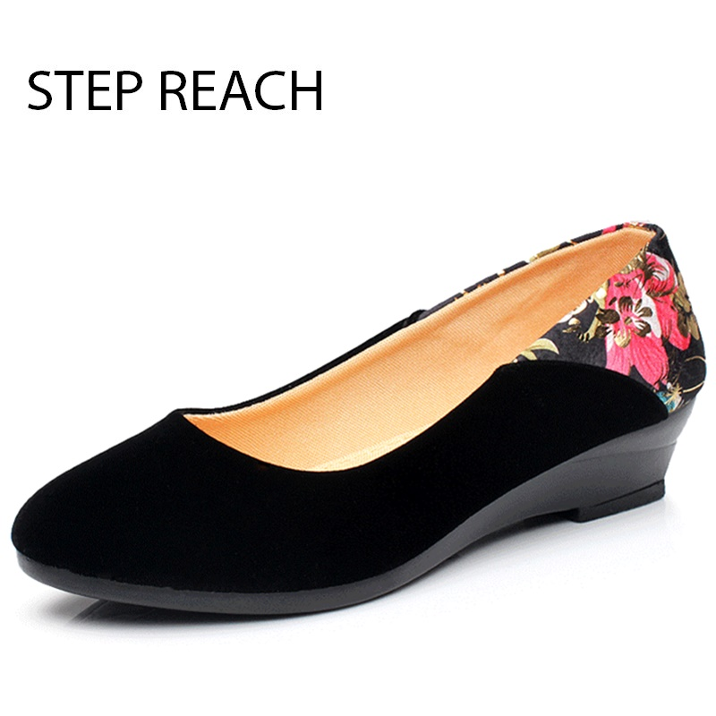 STEPREACH Brand shoes woman Fashion Low heels Casual canvas Round Toe comfortable slip-on Women Ladies Pumps sapato feminino guvoosm ladies med heels pumps women black casual sapato feminino rubber slip on shoes woman round toe big small size 31 43