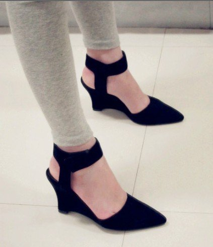 New Suede Office Lady s High Heel Dress Shoes Pointed Closed Toe Wedges  Sandals Black Free Shipping 8b352cf70429