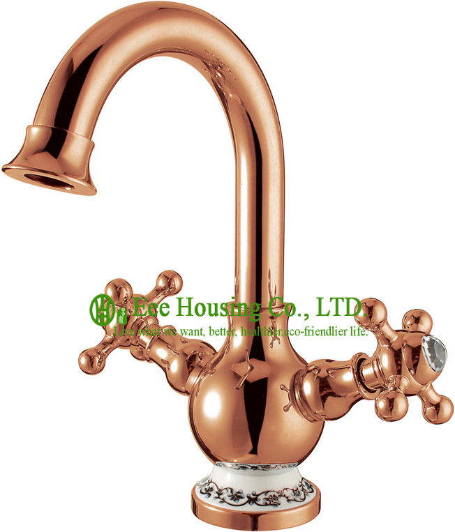 Free Shipping Brass Two-handles Basin Mixer,basin Faucet,gold-rose Finished,bathroom Accessories