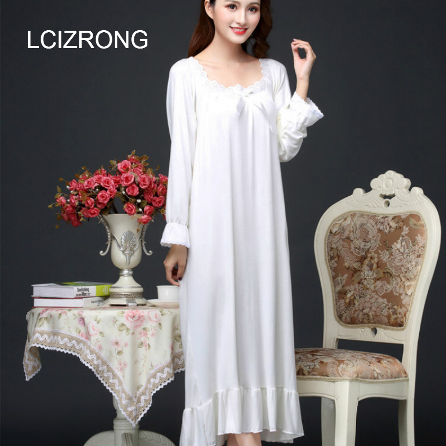 Autumn Long Women Loose Nightgown Oversized Home Dress Mom Girl Night Dress Elegant Woman Nightshirt Lace Sleepwear New