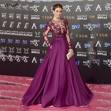 Women Purple Long Sleeve Evening Gowns Celebrity Dress Elegant Formal Dresses Satin A line 2019