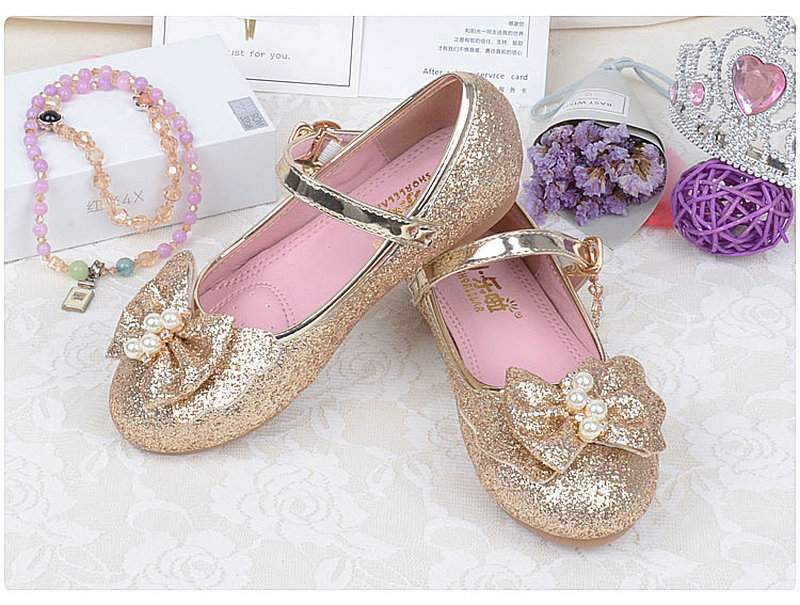 Spring Autumn Kids Children Girls Princess leather shoes Flats Bowtie Casual Shoes Party Dancing student shoes for girls 26-35