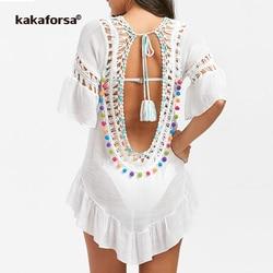 Kakaforsa 2019 Sexy Crochet Beach Cover Up Open Back Summer Beach Dress Cotton Ruffle Ball Swimwear Cover Up Solid Robe De Plage