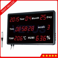 Time Display Large LCD Temperature Humidity Meter Digital Thermo Hygrometer for Factory Lab Room Tester Calendar Function HE218B