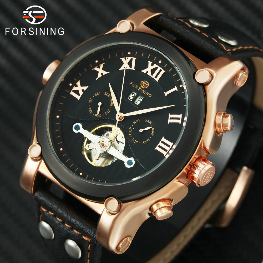 FORSINING Mens Auto Mechanical Watches Male Multi-function Wrist Watches Tourbillion Calendar Date Genuine Leather BandFORSINING Mens Auto Mechanical Watches Male Multi-function Wrist Watches Tourbillion Calendar Date Genuine Leather Band