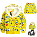 Children outerwear winter boys and girls hoodies sweatshirt SpongeBob cartoon hoodies kids thick fleece sweatshirt girl jacket