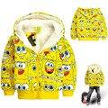 Los niños ropa de abrigo niños y niñas de invierno sudaderas con capucha SpongeBob de la historieta cabritos de los hoodies gruesos sudadera polar chaqueta de chica