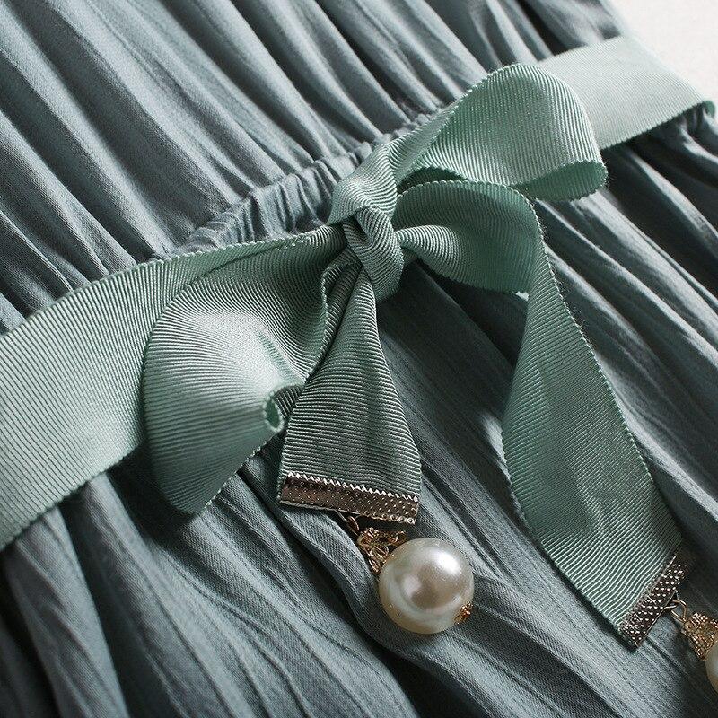 2017 Más Negro Tamaño blanco Botón O Ucrania Cuello Europa Vestido Corta Manga Verano Vestidos Las Mujeres De verde Gasa Nuevo Blanco UCw7RPq6R