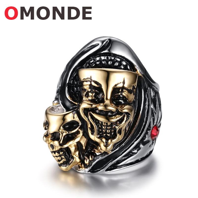 Omonde мужские Модные украшения Нержавеющаясталь двойное кольцо черепа улыбка Панк Скелет Кольца золотое покрытие палец игрушка для мужчин