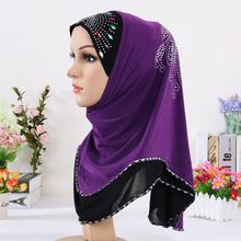 Multicolor Crystal Printed Muslim Hijab, Winter Warm Purple Lace Underwear Headband Scarves