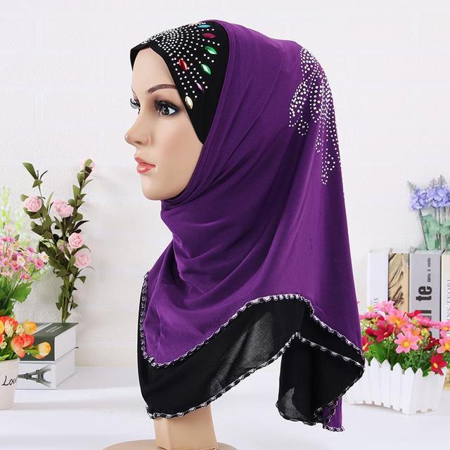 Multicolor Crystal Printed Muslim Hijab, Winter Warm Purple Lace Underwear Headband Scarves