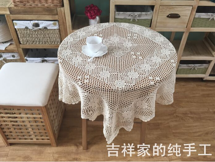 Christmas Hand Crochet Beige Tablecloths 110X110CMSquare Doilies Plum Shape  Wallpapers Cotton Table Cloth Sofa Towel Cover