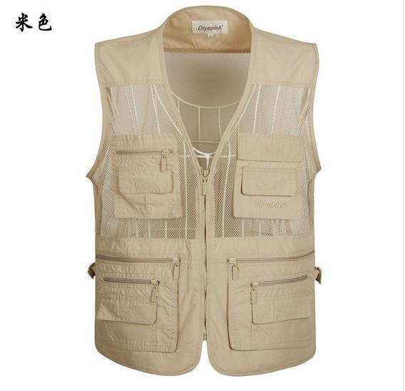 2016 New  Man's Mesh Sleeveless Vest For Casual Multi pocket Journalist Photographer vests size XL-5XL