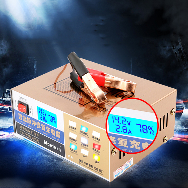 110 V/220 V Carregador de Bateria de Carro Elétrico Automático Completo Tipo de Reparação de Pulso Inteligente Carregador de Bateria 12 V/24 V 100AH Display Led