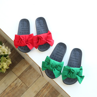 Children Girl Summer Slippers Bownot Red Green Casual Shoes Soft Sole Rubber Non Slip Toddler Baby