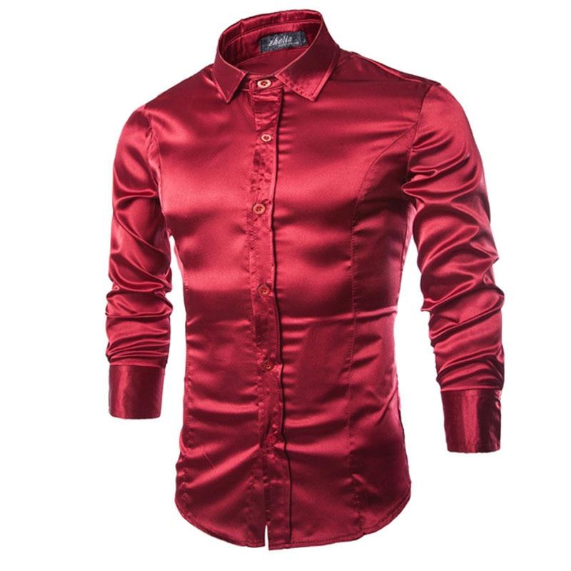 High-grade Emulation Silk Long Sleeve Shirts Men's Casual Shirt Shiny Satin Thin Men Wedding Dress Shirts Soft Leisure Men