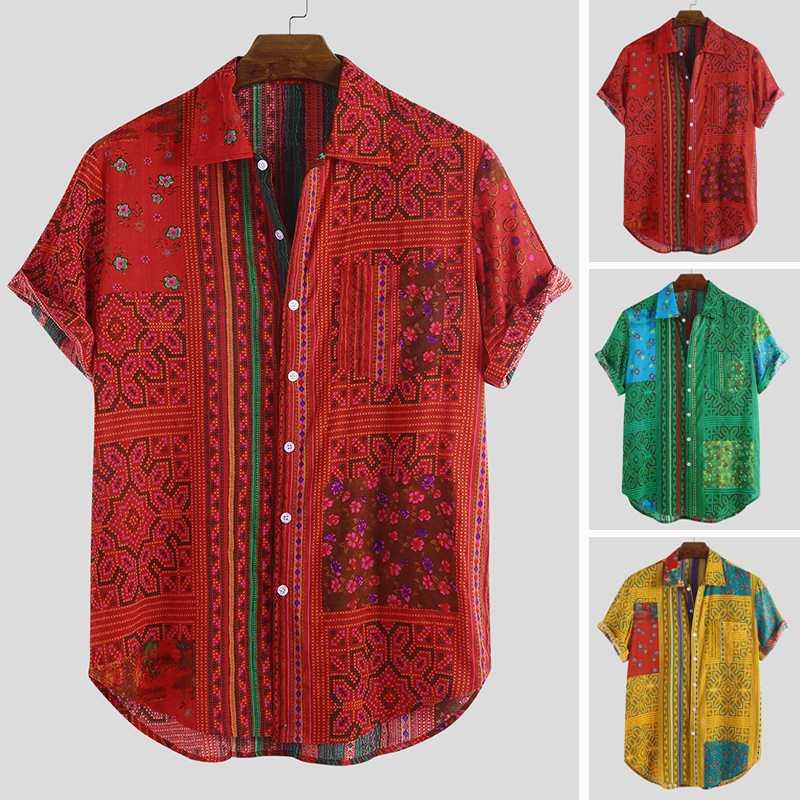 Summer Short Sleeve Print Shirt Men Ethnic Style Button Chic Stylish Vintage Tropical Hawaiian Shirts Men 2019 Camisa Masculina
