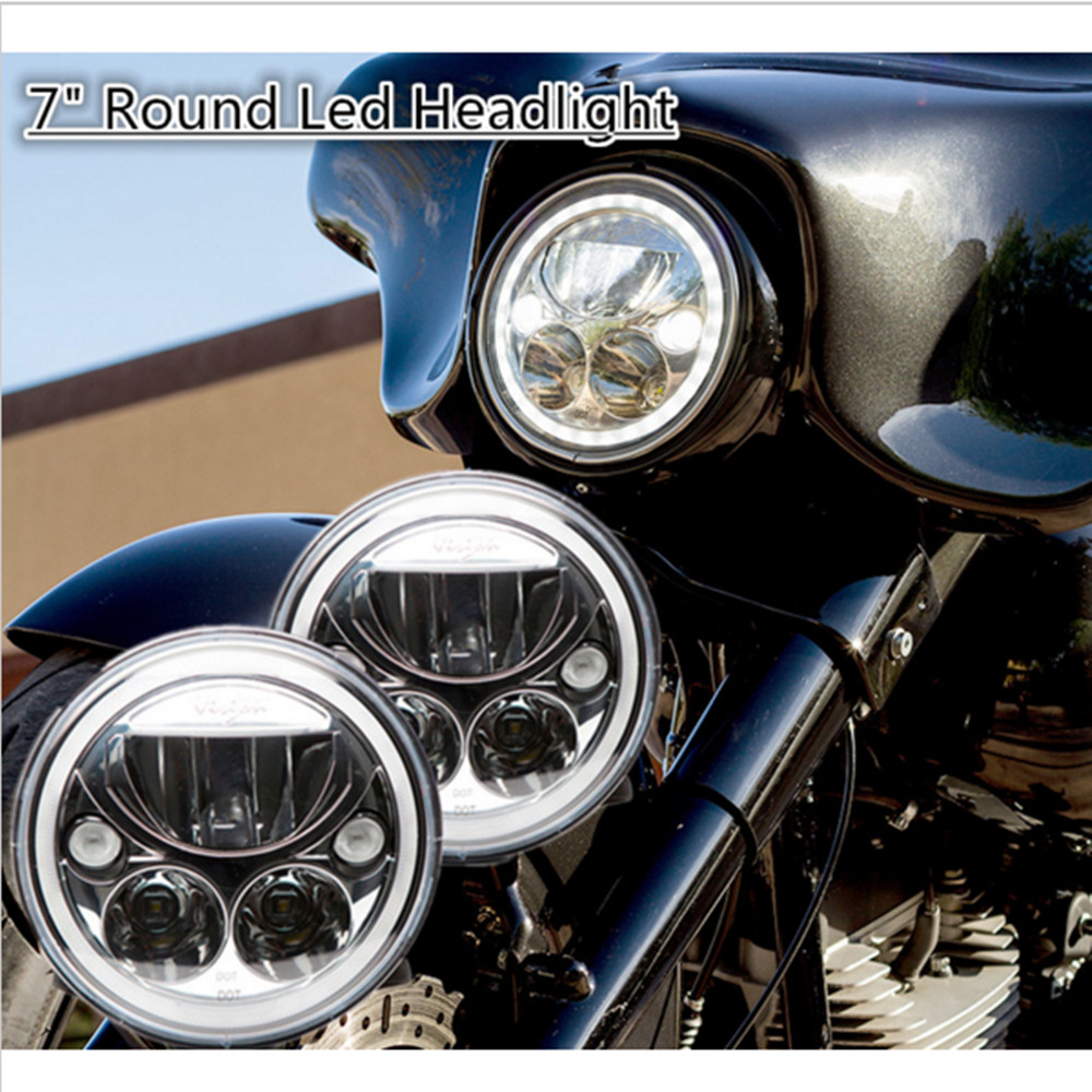 DOT ECE Emarked 7 Headlights Fit For Harley Electra Glides, Road Kings, Street Glides , Trikes , Indian ,Yamah-a spun blade spinning axle caps chrome harley motorcycle sportster 08 13 road glides electra glides