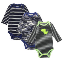 3 Baby Pieces Bodysuits Long Sleeved Boys Girls Clothing Triangle Newborn Cotton 3-24M Babys Sets