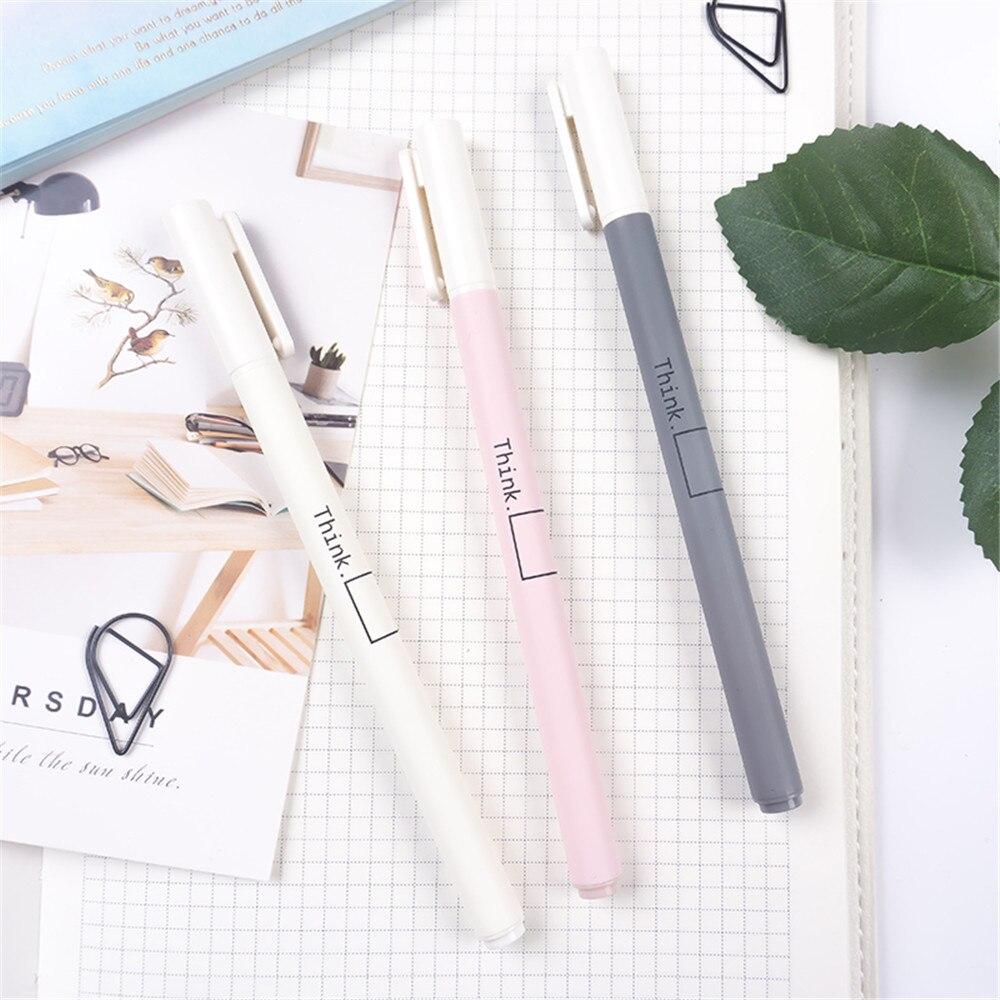 3*Simple Fresh Gel Pens 0.5mm Black Ink Signature Pens Cute Kids School Supply
