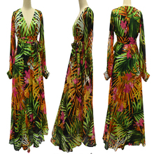 Plus Size 7XL 6XL 5XL 4XL 3XL Maxi Summer Beach Dresses Vestidos Femininos Tropical Print Long Sleeve Chiffon V-Neck Long Dress