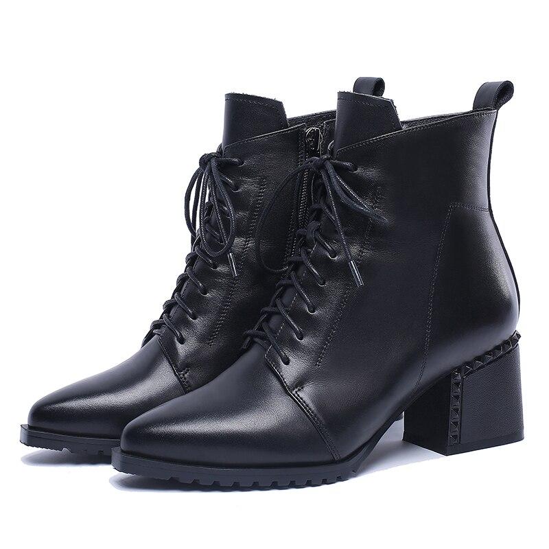 ... Heels Women Ankle Boots Lace Up Boot Pointed Toe Rivet Ladies Shoes.  sku  32896982317 e1235ba00de5