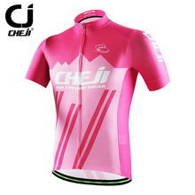 CHEJI Short Sleeve MTB Jerseys For Young Men Bicycle Bike Shirts Cycle Wear Top Pink Reflective For Safe