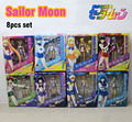 "Free Shipping 8pcs 6"" Sailor Moon Anime Moon Mercury Mars Venus Jupiter Saturn Uranus Neptune PVC Action Figure Model (8pcs set)"