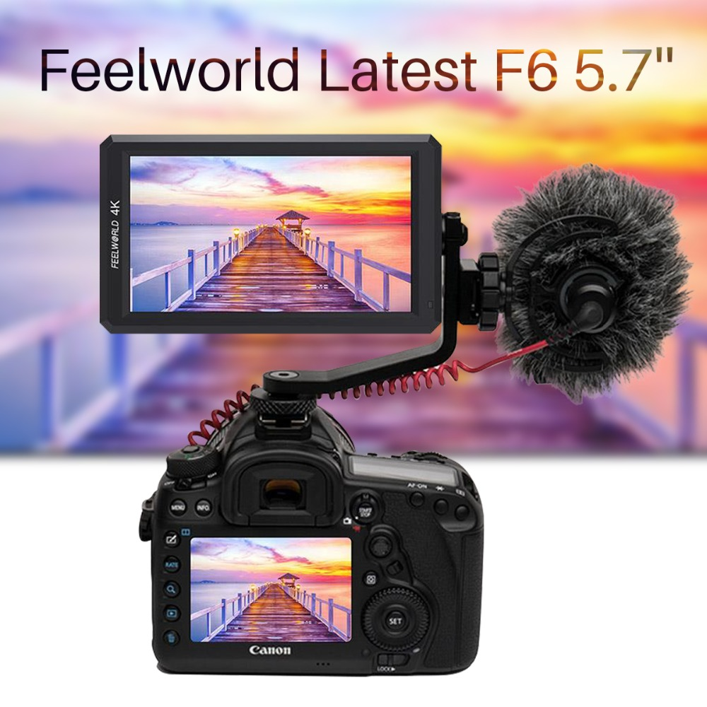 Feelworld F6 5.7 4 K HDMI On-camera Monitor Designed for 4K DSLR and Mirrorless Camera With Tilt Arm & Power Output