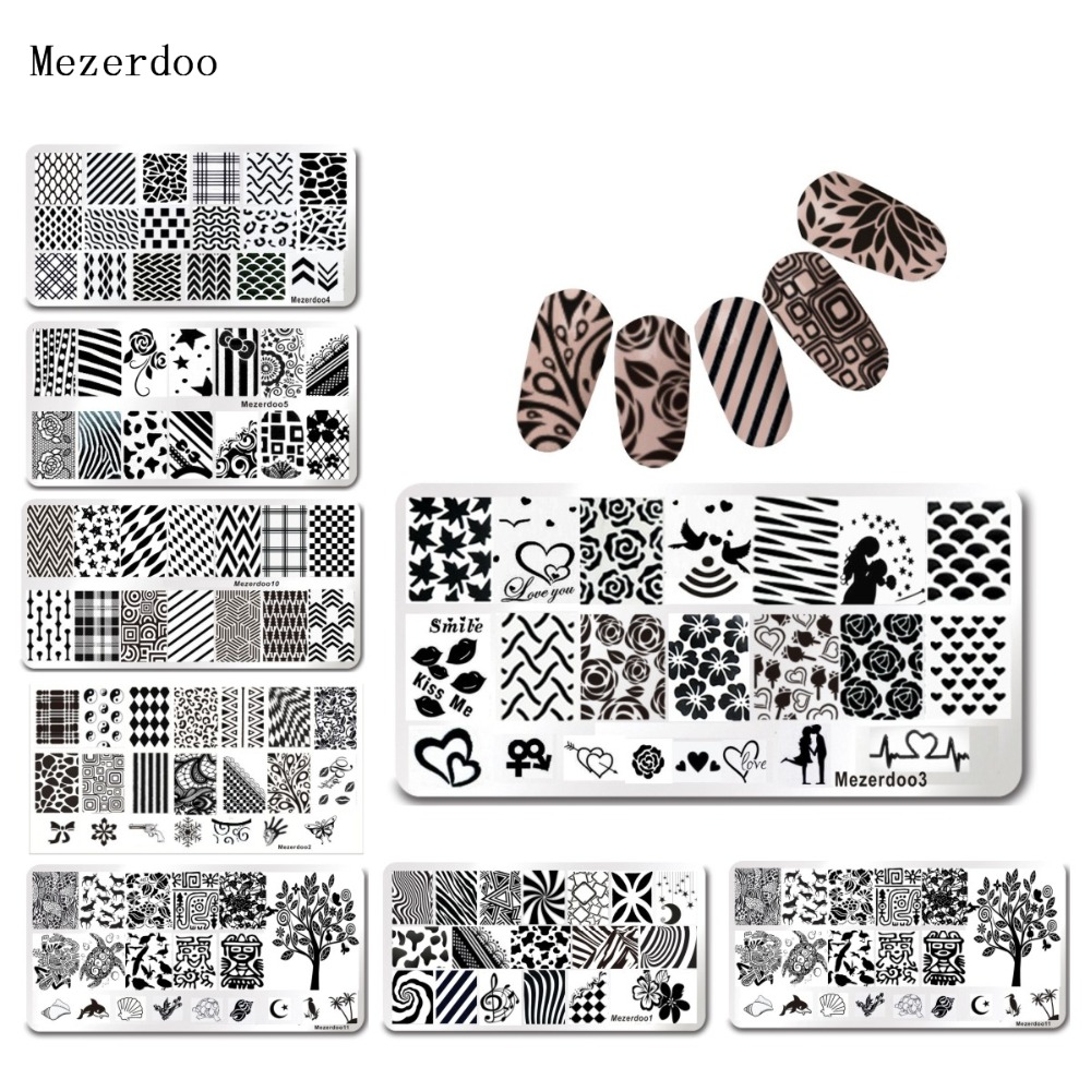Lover Stripe Nail Paltes Nail Art Timbro Template 1Pcs Set 12 * 6cm Rettangolo Love Stripe Design Image Plate