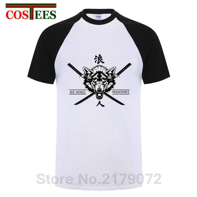 0e4ee591bdb2 2019 New Ronin Japanesse Symbol T shirts men Japan style Ronin Kanji T-shirt  custom Wolf design Samurai HE WHO WANDERS Tee shirt