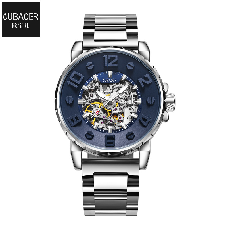 oubaoer brand luxury men's clocks mens watches Mechanical automatic stainless steel waterproof man wristwatches Citizen movement
