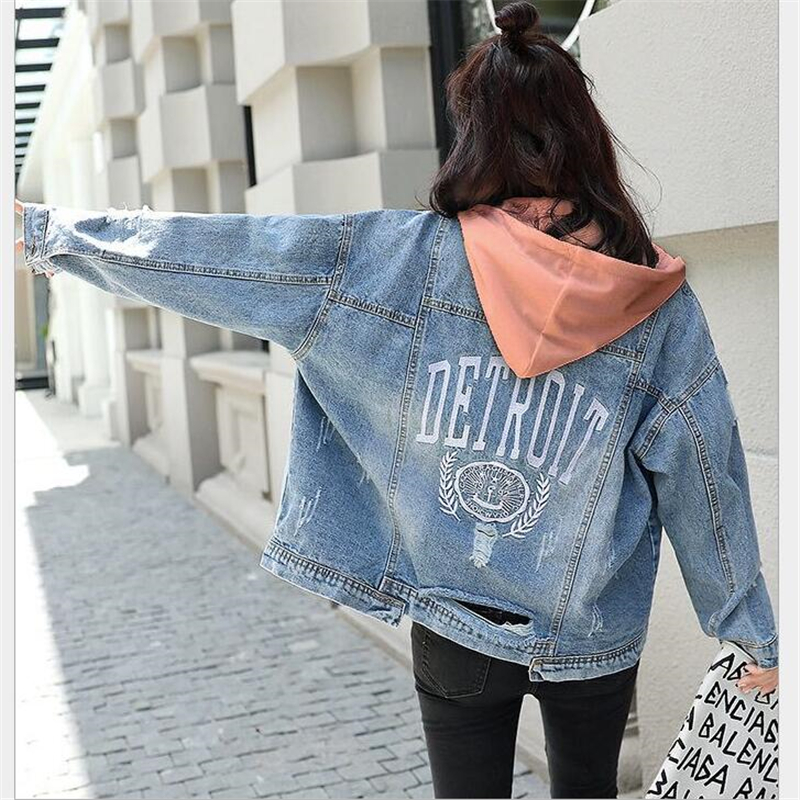 Detachable hooded denim jacket women letter embroidery Tearing Hole jean   coat   female boyfriend denim jackets spring autumn G252