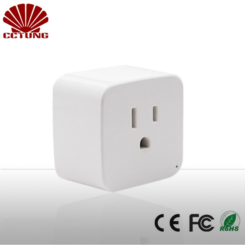 US Standard Grounding Home Automation Remote Control Socket WiFi Smart Plug Support Amazon Alexa Voice Control Womo Smart APP