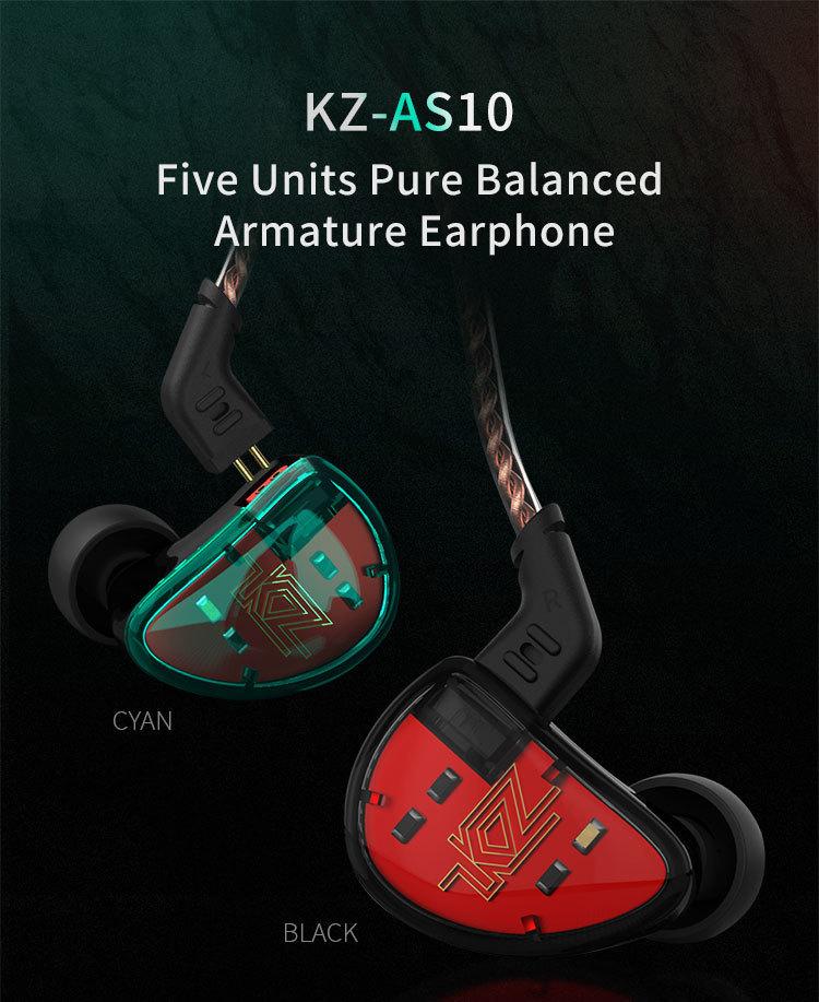 Kz as10 fones de ouvido 5 armadura