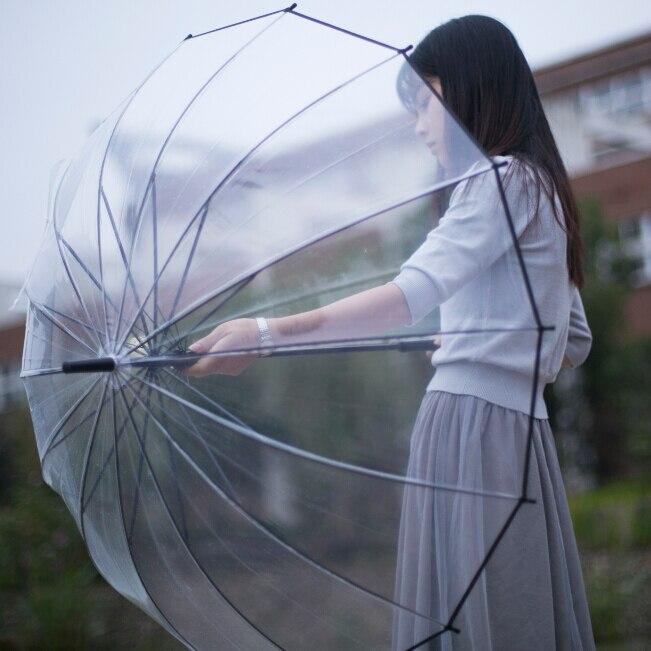 LIBERAINY Simple fashion prevent wind and rain fourteen umbrella bone semi-automatic long handle transparent umbrella