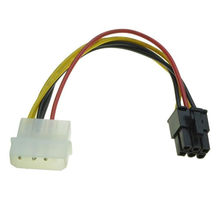 18cm 4 Pin Molex to 6 Pin PCI-Express PCIE Video Card Power Converter Adapter Cable(China)