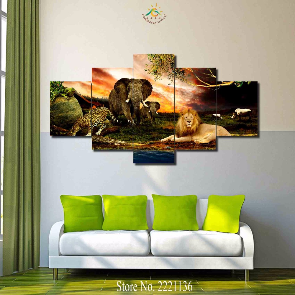 3 4 5 panels set african animal park hd printed paint home for Animal room decoration games