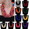 Fashion Jewelry Set Resin Beads Choker Collar Statement Bib Pendant Earring Set